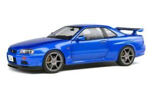 SOLIDO DIECAST 1/18 1999 NISSAN SKYLINE GTR GT-R (R34) IN BAYSIDE BLUE S1804301