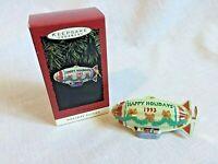 1993 Hallmark Keepsake Holiday Fliers Christmas Ornament Blimp Dirigible Metal