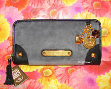 NWT Juicy Couture Authentic Gold Charms Velour Wallet Gray Rare Item
