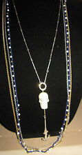 BETSEY JOHNSON RARE  LONG 4 STRAND NECKLACE WITH SKULL AND ANCHOR