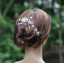 Crystal Rhinestone Floral Design Bridal Comb Headpiece