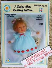 "DAISY-MAY DOLLS KNITTING PATTERN 16""/17"" DOLL pattern No. 299 by Val Young"