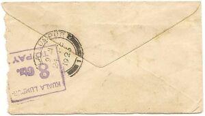 Malaya boxed KUALA LUMPUR 8 Cts TO PAY on 1923 cover
