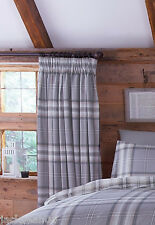 "EDINBURGH GREY TARTAN PLAID COTTON BLEND 66"" X 72"" LINED PENCIL PLEAT CURTAINS"