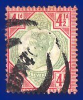 1892 SG206 4½d Green & Carmine K34(1) Fair Used Newtown CV-FU £45 agth