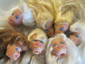 vintage 80s/90s BARBIE DOLL LOT of 7 HEADS: TERESA BROWN BLOND HAIR NO HAIRCUTS