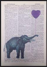 Vintage Elefant Lila Herz Motiv 1933 Wörterbuch Seite Wandkunst Bild Liebe