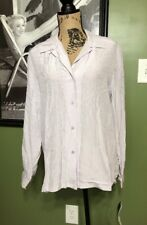 NWT Womens Josephine Chaus Size 12 Lilac Long Sleeve Button Blouse Striped $49