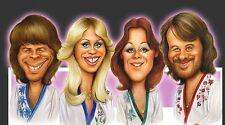 ABBA-Björn, Benny, Agnetha & Anni-Frid Caricature Waterloo Sticker or Magnet