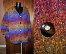 VTG 80s Ombre Rainbow Stripe Fuzzy MOHAIR Wool Hand Knit Jacket Sweater Cardigan