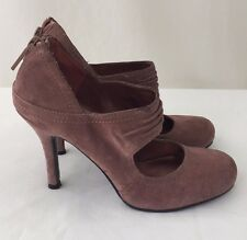 NINE WEST Mary Jane Heels Pumps Womens 6.5 Pink Suede Leather Shoes NEW