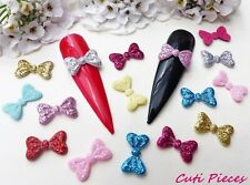 20pc x 3D Fabric Glitter 'Bow-Tie Bows' Nail Art Craft Embellishments Decoration