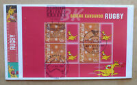 2004 BOXING KANGAROO P STAMP RUGBY BOOKLET PLANE FDC