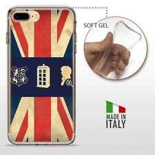 iPhone 7 Plus TPU CASE COVER PROTETTIVA GEL TRASPARENTE VINTAGE Bandiera Inglese