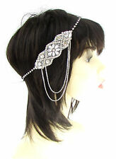 Vintage 1920s Diamante Silver Chain Headpiece Flapper Great Gatsby Headband 566