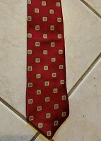 Brooks Brothers Tie Red w Geometric Pattern Pure Silk Stain Resistant