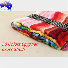 AU 50 Colourful Cross Stitch Embroidery Egyptian Cotton Thread Floss Bulk DIY S4