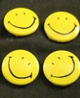 Vintage Yellow Smiley Face Pinback Buttons - Set of 4