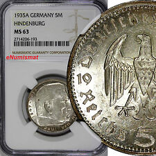 Germany-Third Reich Silver 1935-A 5 Reichsmark NGC MS63 Hindenburg issue KM# 86