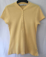 Tommy Hilifiger Ladies Yellow Short Sleeve Button Front T Shirt, size M (12-14)
