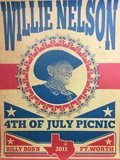 Willie Nelson - 2011 Unknown Artist poster Fort Worth, TX Billy Bob's