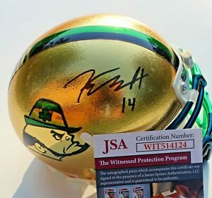Kyle Hamilton Signed Notre Dame Fighting Irish Mini Helmet w/JSA COA Witness #1