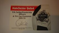 Eric Cantona, Ryan Giggs & 2 x Lee Sharpe Autograph - Hand Signed Cards