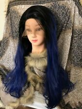 long Hair Front Lace Wig Ombre Black to Blue 26 inches