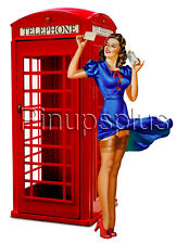 Retro British Red Phone Booth Pinup Girl Waterslide Decal Sticker S419