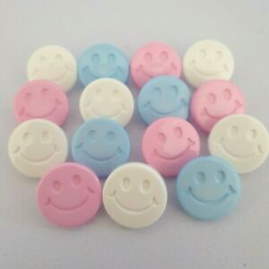 10 Smiley Face Shank Buttons emoji 15mm ligne size 24 White Pink Blue baby child