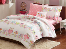 6-PC Pink Girls Twin Size Complete Bed w Sheets Set Kids Owl Pattern Bedding