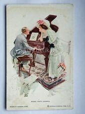 INNAMORATI lovers MUSIC HATH CHARMS  old postcard AK vecchia cartolina