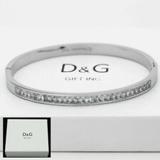 "DG Women's 6.5"" Silver Stainless Steel 4mm CZ Eternity Band Bangle,Bracelet +Box"