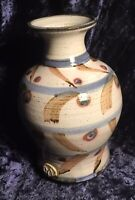 Studio Pottery Vase w/ Calm Earthen Details, Makers Seal At Base