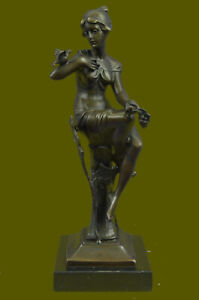Girl with Bird on The Hand Mid Century Gift Bronze Sculpture Signed Figurine