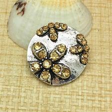 NEW Sunflower Rhinestone Charm Chunk Snap Button fit for Noosa Bracelet EFG116