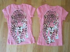 Twin girls CHEETAH LEOPARD SPOTS PINK tops shirts NWOT 4 5