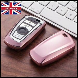 Chrome Pink Key Cover For BMW 1 2 3 4 5 6 7 X3 X4 Series M2 M3 M4 Case Fob t60*