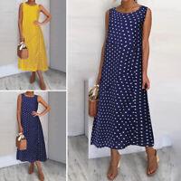 UK Women Summer Beach Polka Dot Dress Ladies Sleeveless Loose Sundress PLUS SIZE