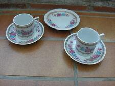 2 tasses à moka & soucoupes porcelaine motif roses Chine + soucoupe assortie