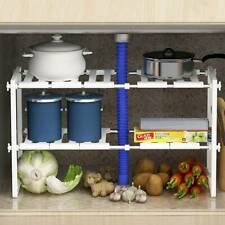 Under Kitchen Sink Shelf Storage Adjustable Cupboard Rack Cabinet Organiser Unit