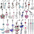 Eager Dangle Ball Button Barbell Bar Stainless Belly Navel Ring Body Piercing