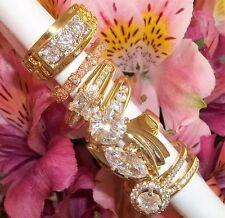 NOS Seta Gold Plated Ring Lot C7 sz 9 - 9 3/4 Nugget CZ Bezel Engagement Halo