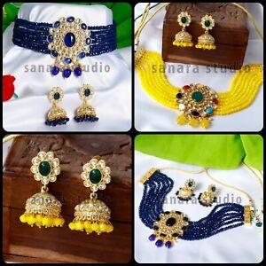 Indian Ethnic Kundan Pearl Choker Necklace Earrings Traditional Jewelry Set