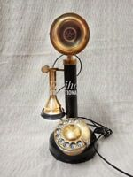 BRASS WORKING ITALIAN VINTAGE CANDLESTICK ROTARY DIAL RETRO HANDMADE TELEPHONE