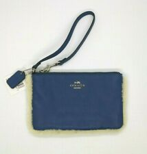 NWT COACH SLATE BLUE LEATHER w/SHEARLING iPhone Blackberry Galaxy Wristlet 64709