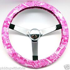 Hand Made Steering Wheel Covers Pink Flower Breast Cancer Awareness