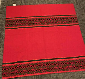 "Woolrich Wool Square Picnic Throw Blanket 59"" X 59"" Red Green Fair Isle Stripes"
