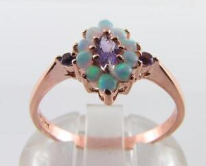 9K 9CT ROSE GOLD AMETHYST OPAL ART DECO INS DAINTY CLUSTER RING FREE RESIZE