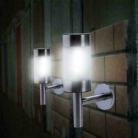 2x Stainless Steel Outdoor Garden Solar Powered Shed Door Fence Wall LED Lights